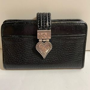 Brighton Black Leather Wallet Clutch Silver Heart